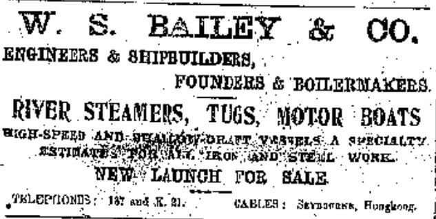 Bailey's Shipyard Advert China Mail 14.4.1908