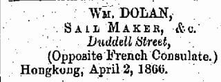 Dolan Wm, Sailmaker China Mail 28.5.1868