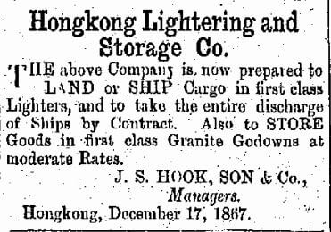 Hongkong Lightering And Storage Company Company China Mail 28.5.1868