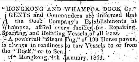 Hongkong & Whampoa Dock HK Daily Press 4th January 1864