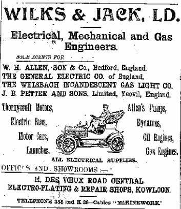 Wilks & Jack Ltd Advert China Mail 14.4.1908