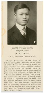 Koan K.T. Profile 1921 In Epitome, The Lehigh Yearbook York Lo