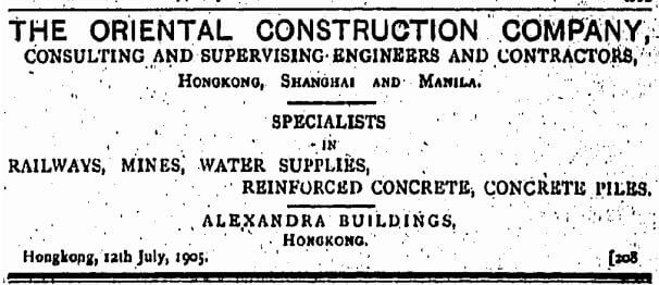 Oriental Construction Company Advert HK Telegraph 23.9.1905