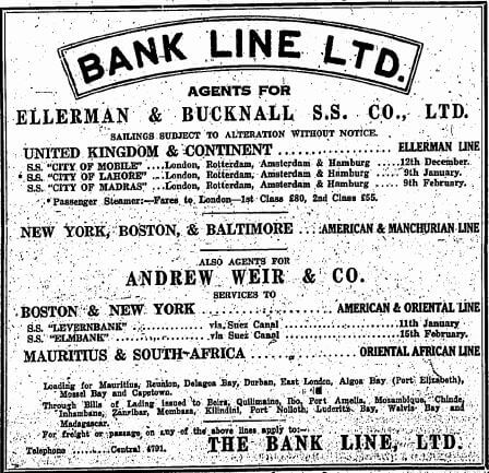 Bank Line Advert China Mail 12.12.1928