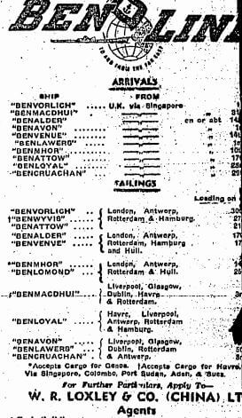 Ben Line Shipping Advert HK Sunday Herald 29.10.1950