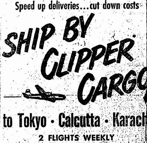 Clipper Cargo Pan American A Advert HK Sunday Herald 29.10.1950