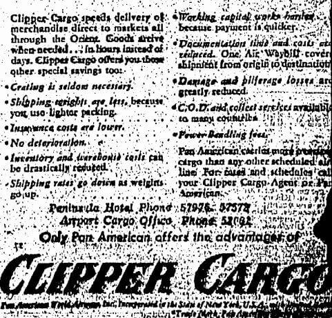 Clipper Cargo Pan American B Advert HK Sunday Herald 29.10.1950