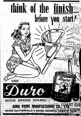 Duro Paint Manufacturing Co Ltd Manufacturer Advert 1953 HK Sunday Herald 29.10.1950