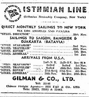 Isthmian Line Shipping Advert HK Sunday Herald 29.10.1950