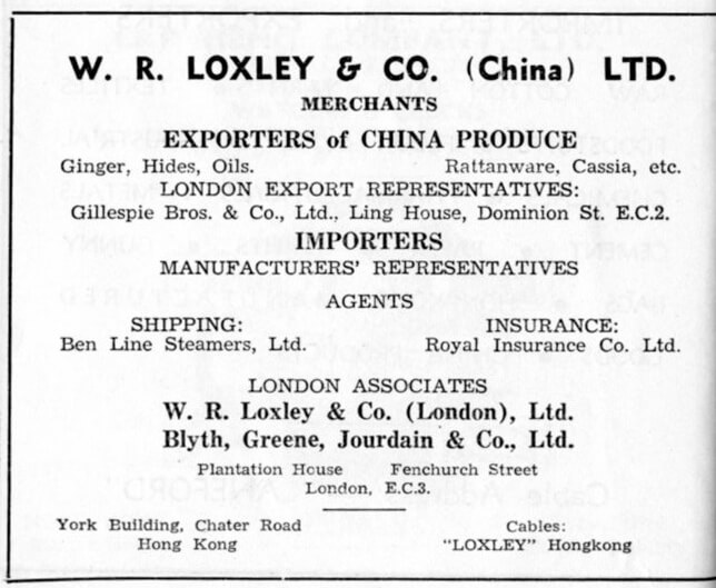 W R Loxley & Co China Ltd Agent Advert 1953