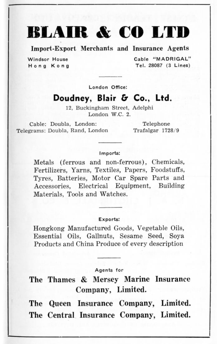 Blair & Co Ltd-agent-advert-1953
