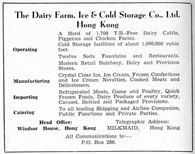 Dairy Farm Ice Cold Storeage Co Ltd-manufacturer-advert-1953
