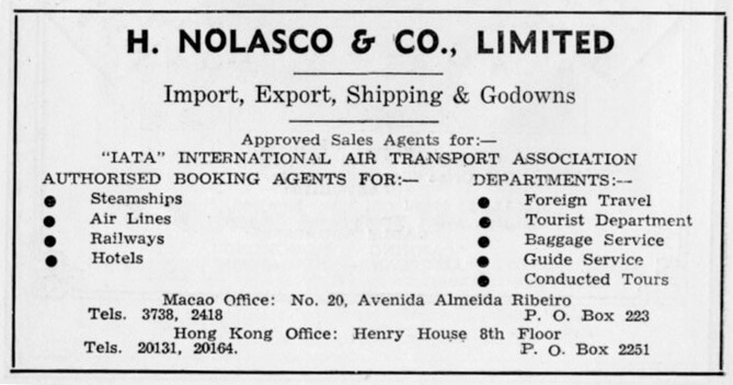 H Nolasco & Co Ltd-agent-advert-1953