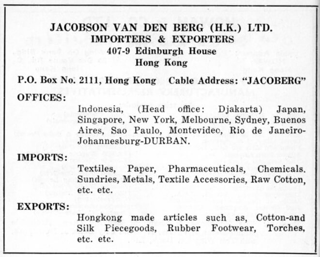Jacobson Van Den Berg Hk Ltd-agent-advert-1953