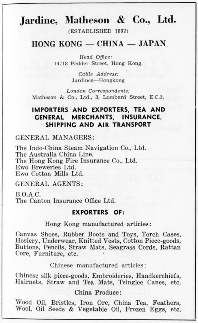 Jardine Matheson & Co Ltd-agent-advert-1953