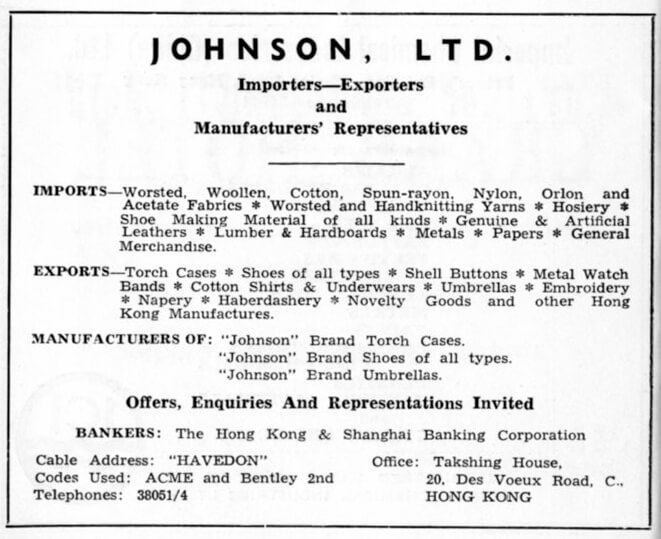 Johnson Ltd-agent-advert-1953