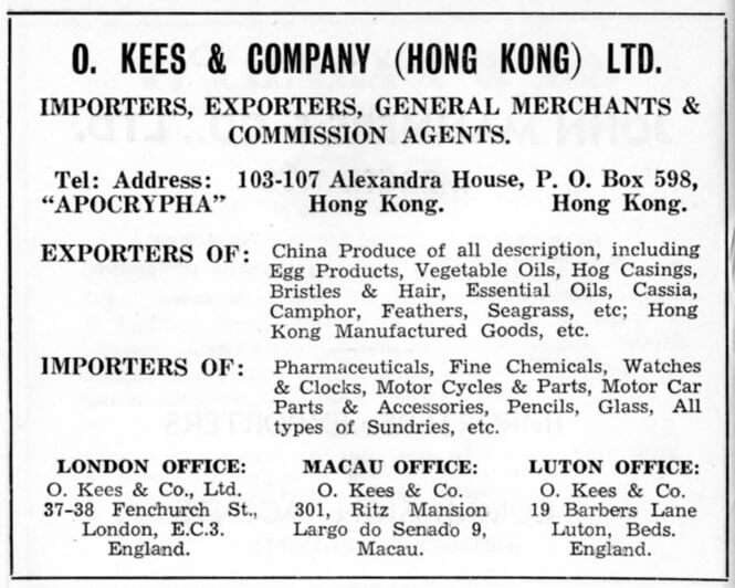 O Kees & Company Hong Kong Ltd-agent-advert-1953