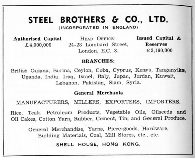 Steel Brothers & Co Ltd-agency-advert-1953
