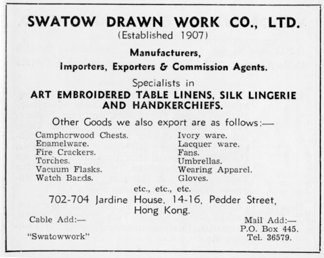 Swatow Drawn Work Co Ltd-agent-advert-1953