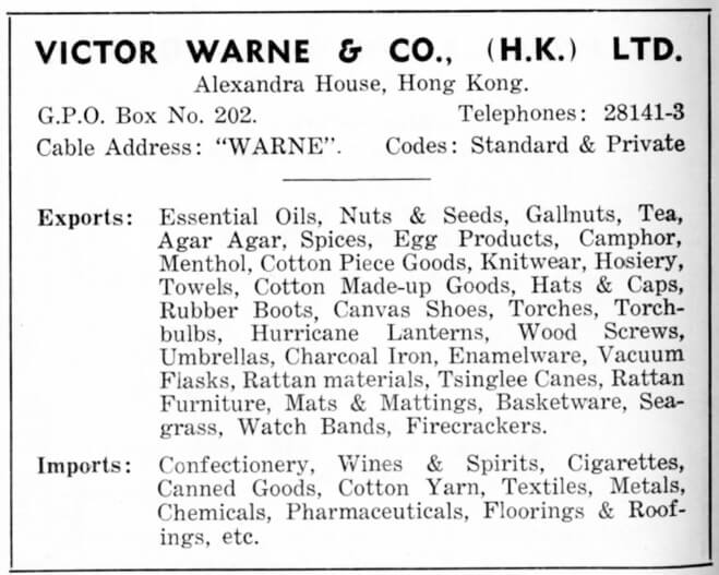 Victor Warne & Co HK Ltd-agent-advert-1953