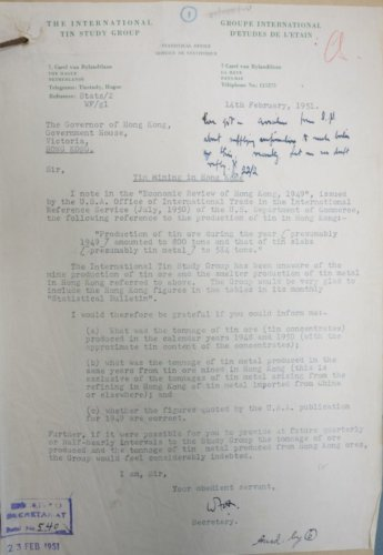 International Tin Study Group Letter (Feb 1951)