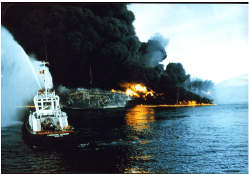 Seawise Giant In Flames After Being Bombed In 1988 During The Iraq Iran War Courtesy SCMP
