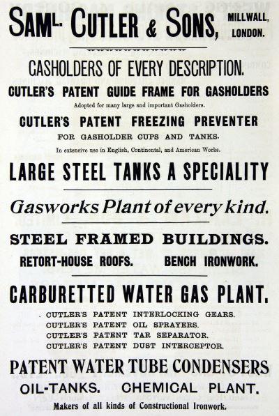 Samuel Cutler & Sons, Millwall, London, Advert March 1903