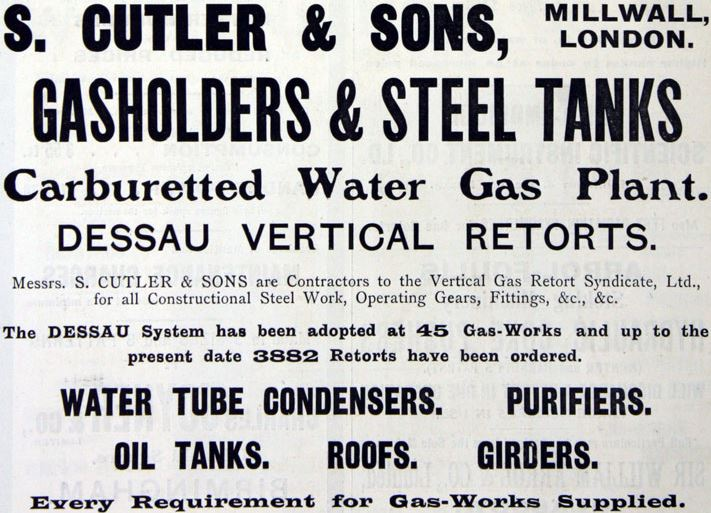 Samuel Cutler & Sons, Millwall, London, Advert Sept 1909, Grace's Guide