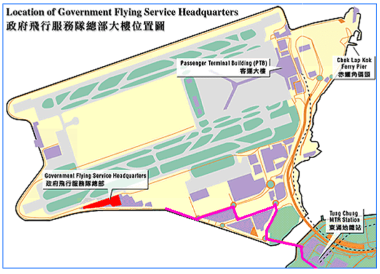Hong Kong Government Flying Service Location Map From GFS Website