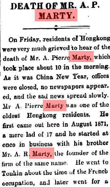 Marty, Auguste Pierre Obituary A SCMP25.1.1909 Stephen Davies