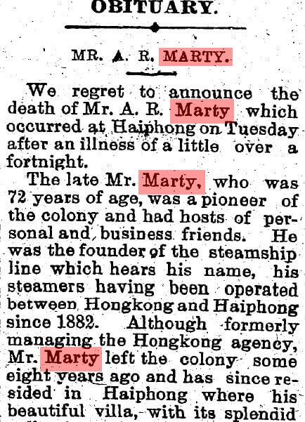 Marty, Auguste Raphael Obituary SCMP 17.12.1914