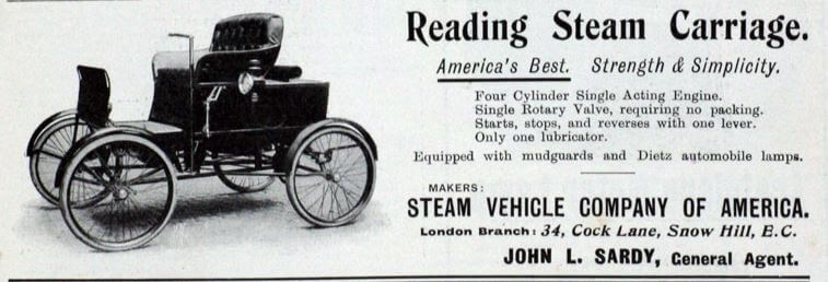 Steam Vehicle Company Of America Advert John L Sardy 1901