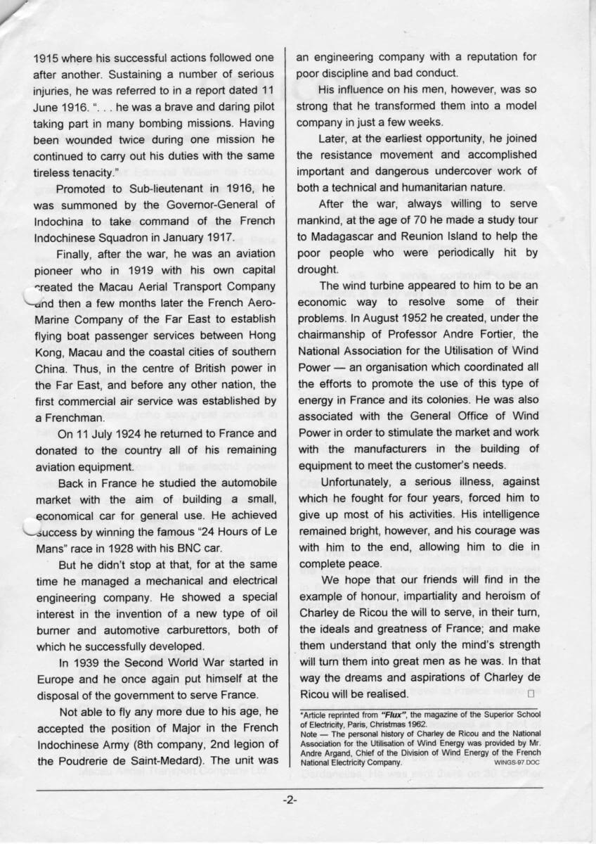 Charles De Ricou Biography, B Article Reprinted From Flux, The Magazine Of The Superior School Of Electricity, Christmas 1962