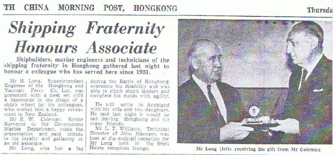 Harry Long undated SCMP article 31 Years of Service
