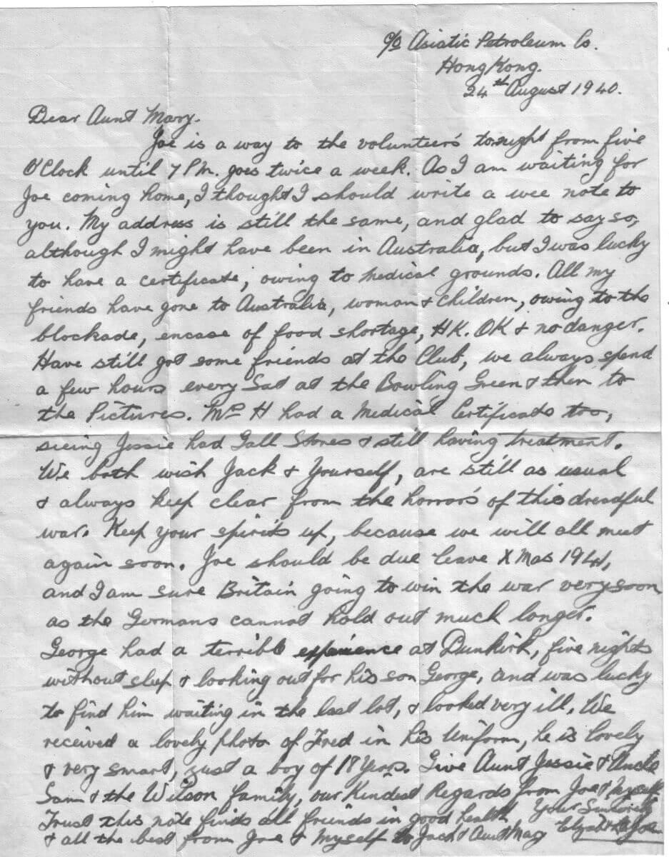 Joe MacDonald Hong Kong by Lizzie MacDonald letter 1940