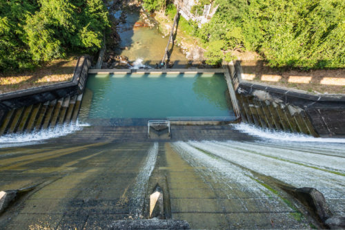 Looking Down The Dam Wall On The Lower Aberdeen Reservoir, Hong Kong Island.