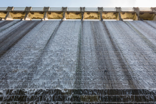 Looking Up The Dam Wall On The Lower Aberdeen Reservoir, Hong Kong Island.