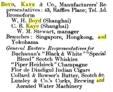 Boyd, Kaye & Company In The Directory & Chronicle For China, Japan, Indo China, Straits... 1904