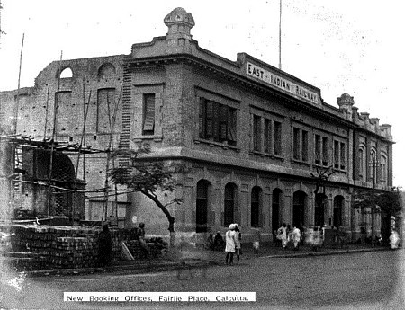 East Indian Railway New Booking Offices, Fairlie Place, Calcutta C1925 Courtesy Puronokolkata