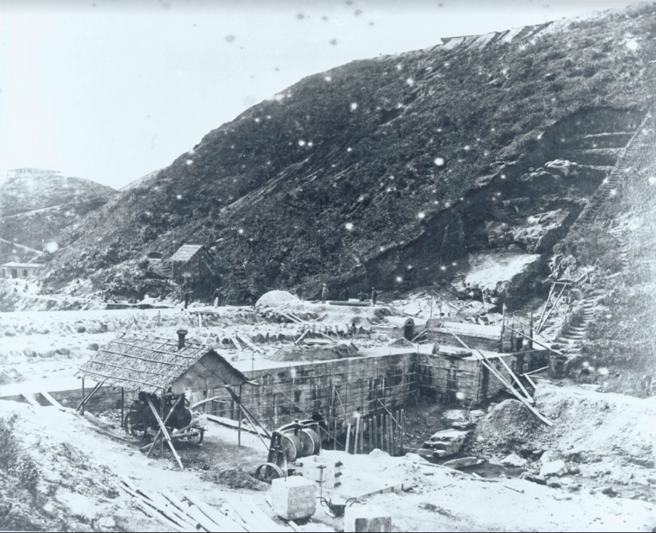 Tai Tam Dam, Construction Of The Base, Source HK Library From Tymon Mellor