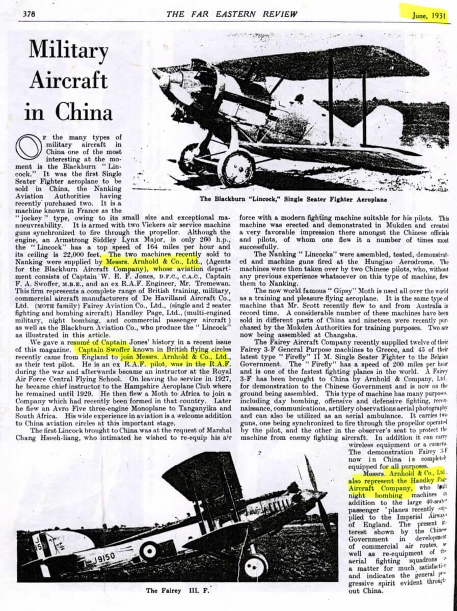 Arnhold & Company + Capt Swoffer, Far Eastern Review June 1931 IDJ