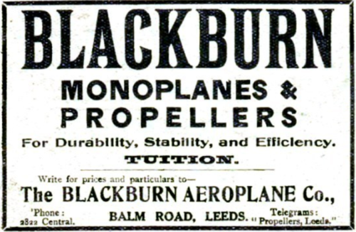 Blackburn Aircraft Ltd Advert 1911 Grace's Guides