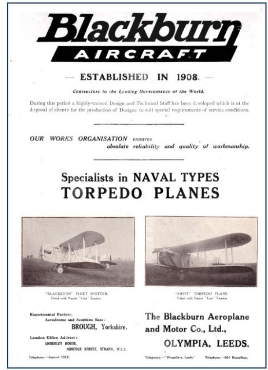 Blackburn Aircraft Ltd Advert 1923 Grace's Guides