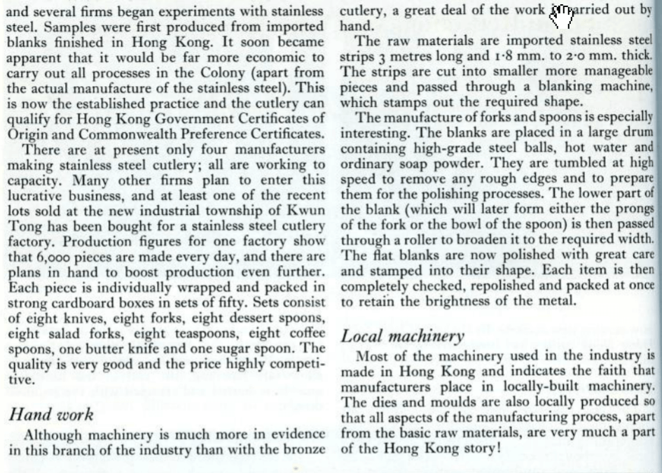Cutlery Manufacturing Page 5 HK Trade Bulletin, Commerce & Industry Dept August 1960 Pp 244 246 HK Memory Project