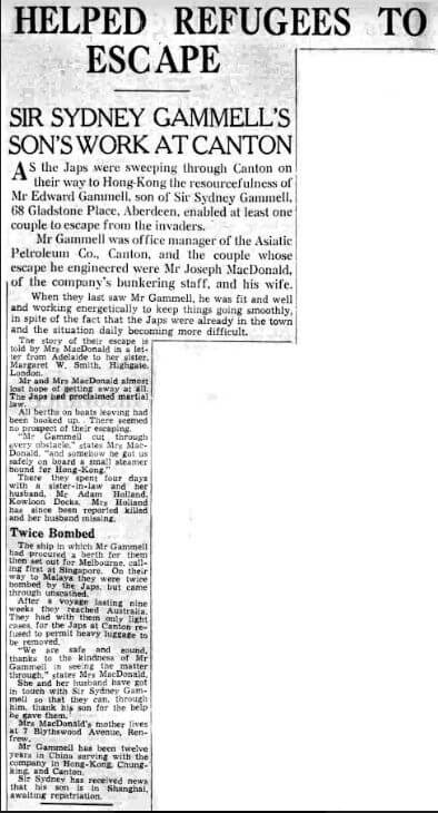 Asiatic Petroleum Co Joe Macdonald Article Aberdeen Weekly Journal 6th Aug 1942 From Ian Brown