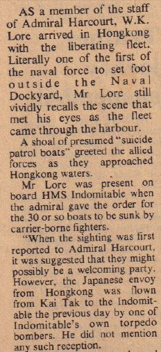 SCMP WW2 Jap Suicide boats SCMP 30.11.75 sent by ER snipped 2