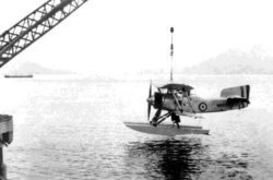 4 Fleet Air Arm Fairey Flycatcher Lowered Into The Water From Kai Tak's Seawall
