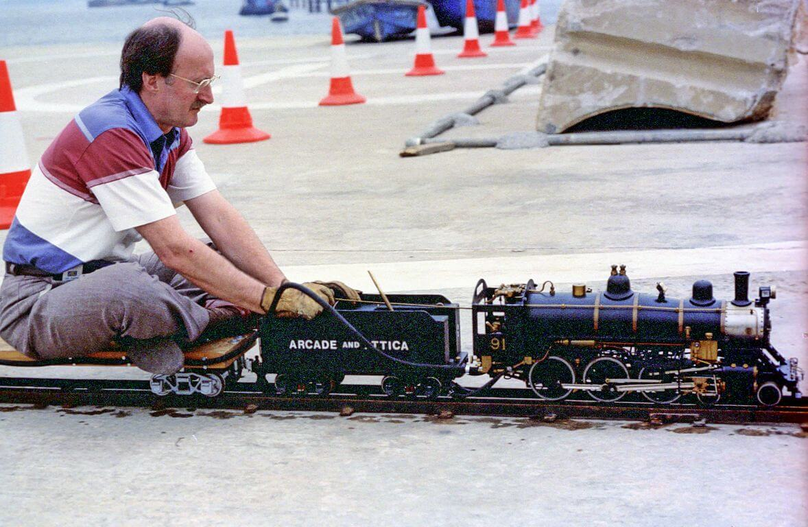 Miniature Railways b4 HKSMEE-American locomotive-at Shatin Marine Police Base