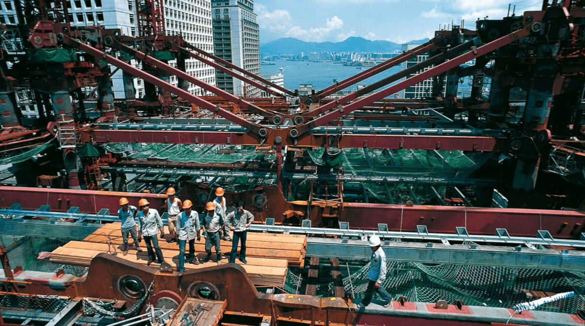 The construction of the HSBC building in Hong Kong – images