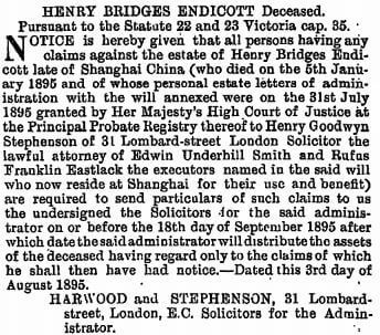 Henry Bridges Endicott death notice The Gazette 6th August 1895
